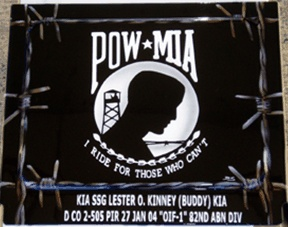 POW MIA remembrance with barbed wire airbrushed on Harley Davidson battery box cover