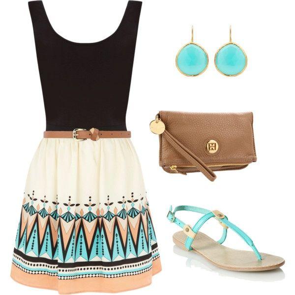 Black tank top, brown skinny waist belt, tribal print flowy skirt, sandals. Shop