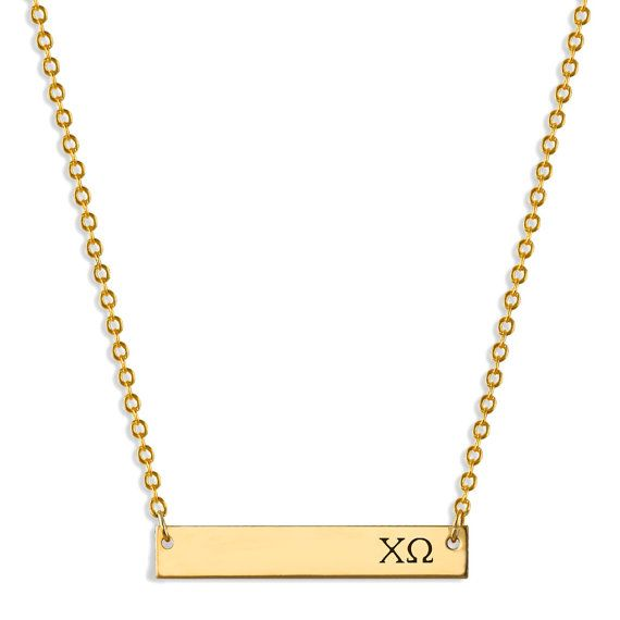 Chi Omega Sorority Bar Necklace Details This delicate gold bar necklace is hand…