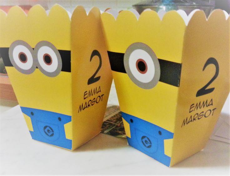 box popcorn compleanno minion... tutto personalizzato e realizzato da seregraphics