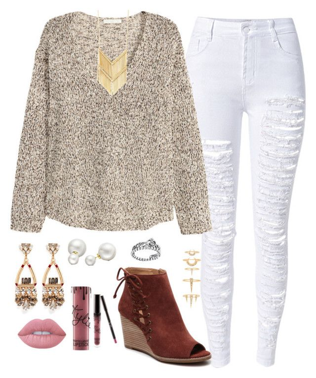"""fallllllllll!!!!"" by carolina-prepster ❤ liked on Polyvore featuring H&M, Luv Aj, Anton Heunis, Lime Crime, Kylie Cosmetics, Allurez and Pandora"