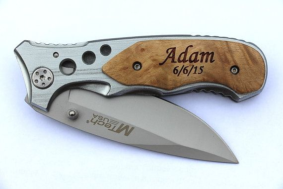 wooden pocket knife engraved 2