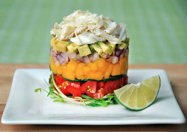 La Jolla Crab Stack with Ginger-Lime Dressing by justataste #Appetizer #Salad #Crab