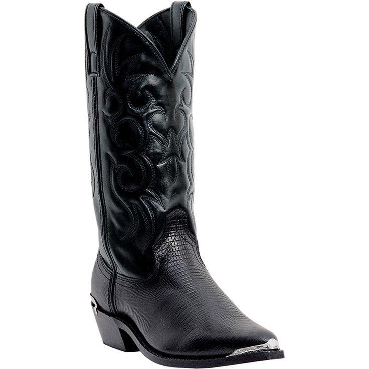 Laredo Mens Black Lizard Print Leather Atlanta J Snip Toe Cowboy Boots