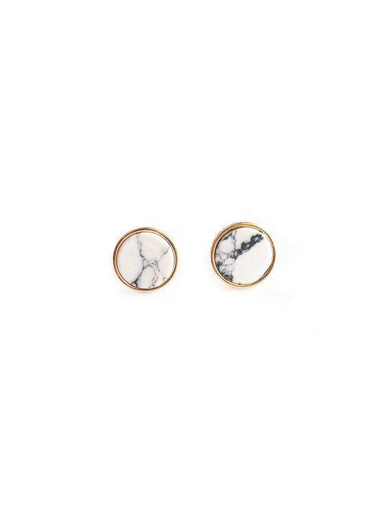 Marmor-Ohrring Stud Kreis Marmor-Ohrring weiss von redsister