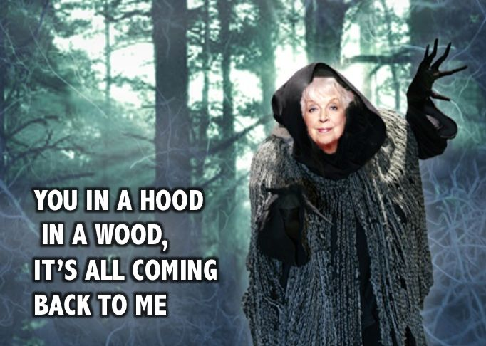 Absolutely Fabulous Ab Fab meme Edina Mother you in a hood in a wood