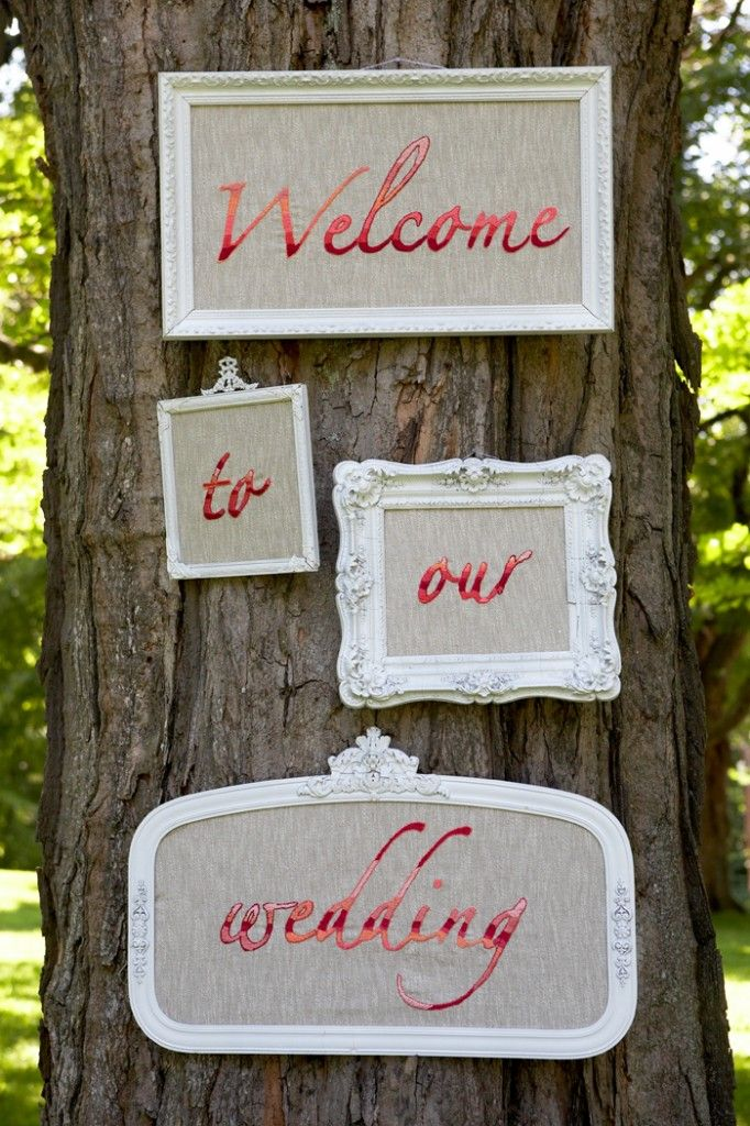 Make your wedding sign stand out with a gallery wall display like this! #weddingideas #signage {Cappy Hotchkiss Photography}