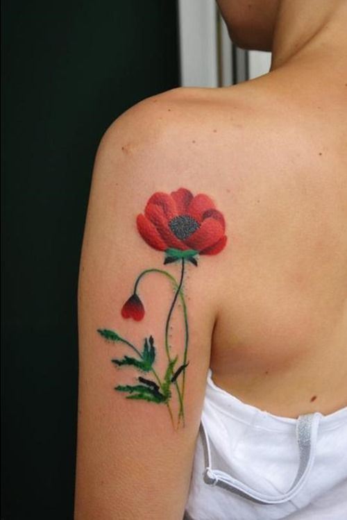 Female Red Poppy Tattoo on Sleeve