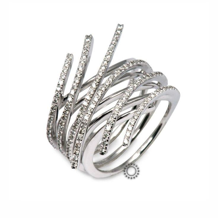 Πρωτότυπο λευκόχρυσο δαχτυλίδι Κ18 με διαμάντια σε εύκαμπτα άκρα που συμπιέζονται | Δαχτυλίδια με διαμάντια ΤΣΑΛΔΑΡΗΣ Χαλάνδρι #δαχτυλίδια #διαμάντια #rings #diamonds
