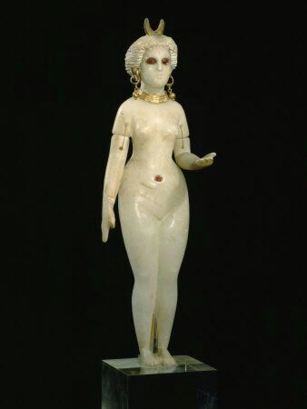 """This is the Moon goddess of Ishtar/Easter/Ashtoreth- """"The Queen of Heaven"""". Take notice of the crescent moon/bull horns on her head. Her consort is Baal the bull with horns."""