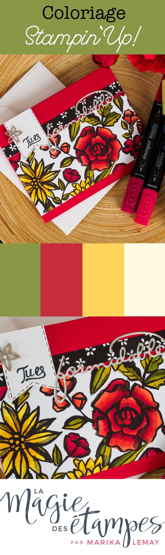 Carte palette de pétales Stampin' Up! coloriée avec les marqueurs Stampin'blends Stampin' Up!