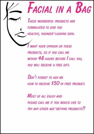 I like this idea! In case you can't set up a facial time. Maybe put directions for product in the bag too?