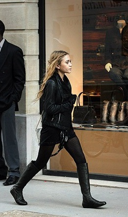 mk olsen, all black, fall fashion, leather and boots