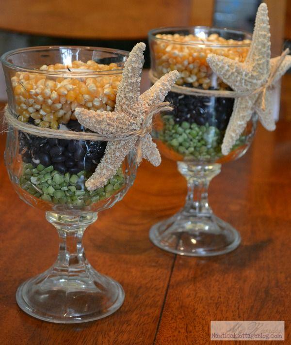 {Coastal Crafts} Make Autumn Candle Holders | Beach House DecoratingBeach House Decorating