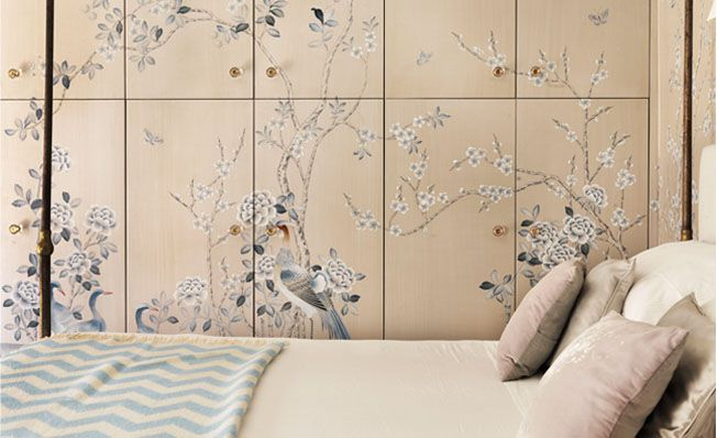 Customized modern chinoiserie 'Chinese Garden with Pheasants' by Misha wallpaper: Designer Tommaso Ziffer featured hand painted wallpaper Chinese Garden with Pheasants on Silver silk in the Bedroom of a client's home in Rome, Italy.
