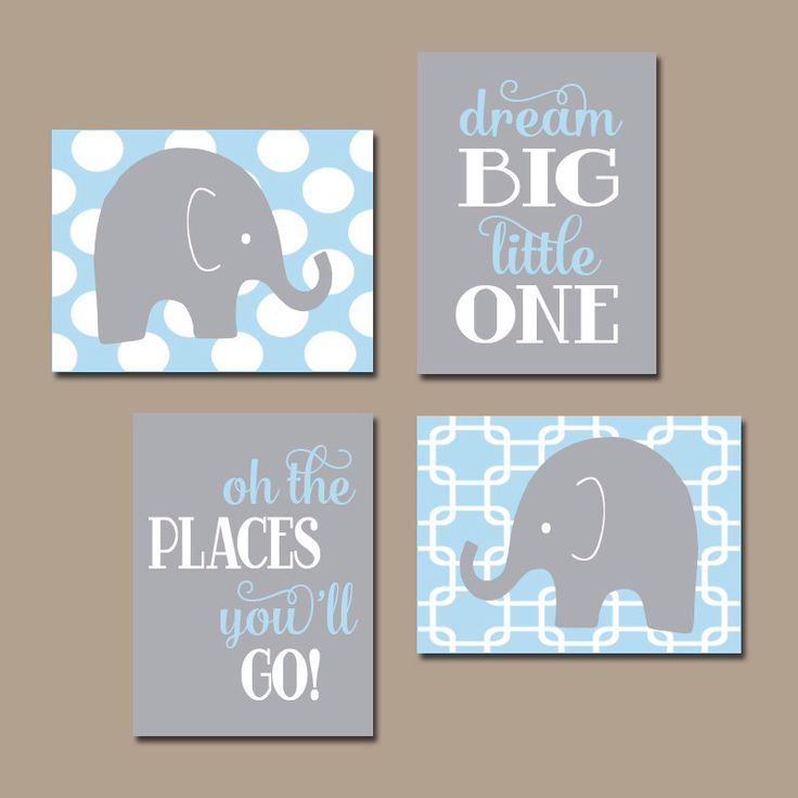 Baby Boy Nursery Wall Art CANVAS or Prints Elephant Wall