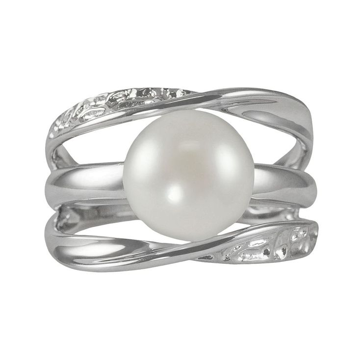 Sterling Silver Freshwater Cultured Pearl Galaxy Ring, Women's, Size: 6, White
