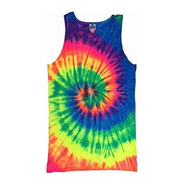 Neon Rainbow Tie Dye Tank Top ($20) ❤ liked on Polyvore featuring tops, shirts, tank tops, shirts & tops, tye die shirts, tie dyed shirts, rainbow shirt and tyedye shirts