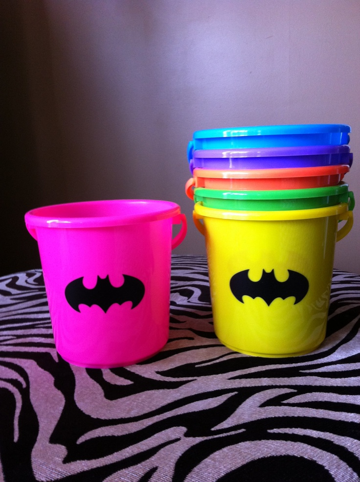Batman and Batgirl Personalized Children's Party Favor Buckets/ Treat Bag with Your Choice of Logo, Style 4. $4.00, via Etsy.