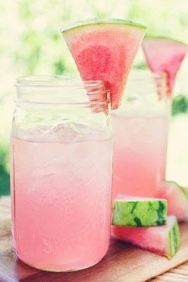 blend chilled watermelon, coconut water, fresh lime and mint