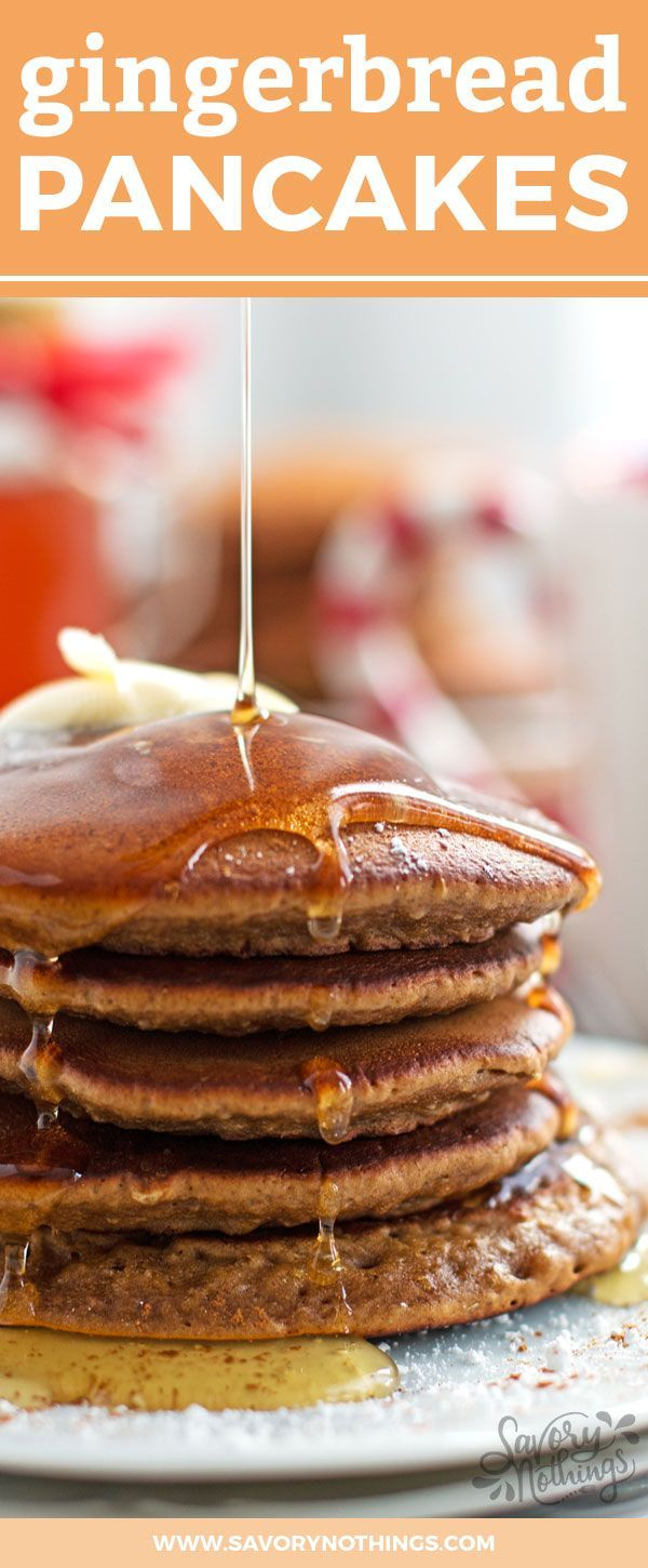 The best soft and fluffy Gingerbread Pancake recipe. This is perfect for a family breakfast on Christmas Morning because they are super quick and easy to make! (Christmas Pancake Recipes)