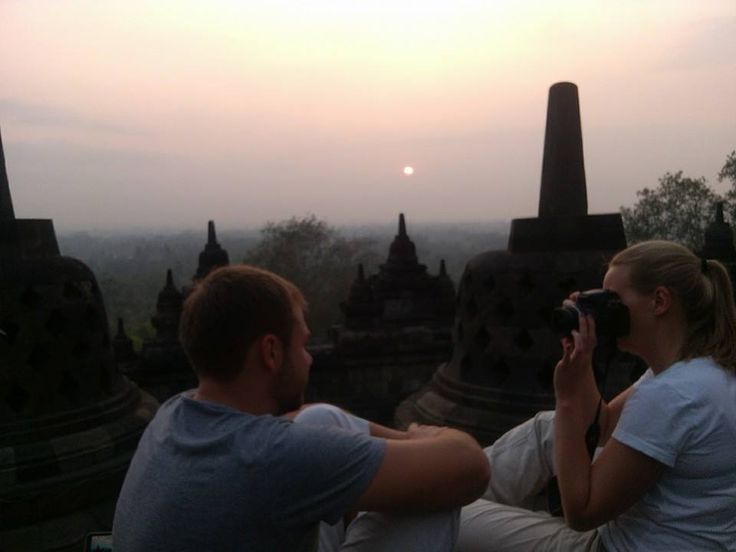 Enjoy the spiritual atmosphere at Borobudur temple, at the dawn.