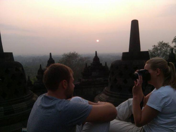 Enjoy the spiritual atmosphere at Borobudur temple, at the dawn.
