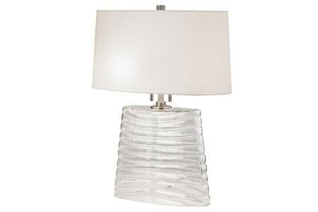 Wells Table Lamp - Clear Seeded Glass
