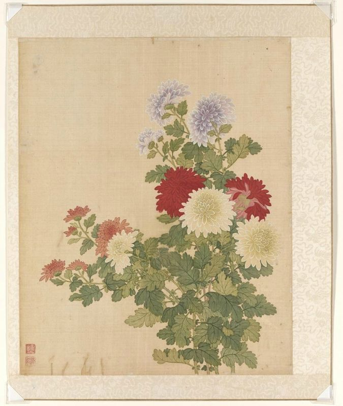 Chrysanthemum, from the flowers of the twelve months: November, Yun Bing (Chinese, 1670 - 1710), 1670-1710, Qing dynasty (1644-1911). Album leaf, Ink and colors on silk. Asian Art Museum, The Avery Brundage Collection, B65D49.i. Photo: © Asian Art Museum.
