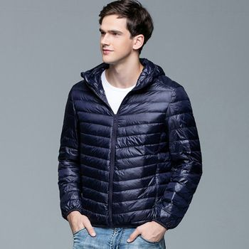 2016 Nieuwe Mannen Winter Jas Mode Capuchon 90% Witte Eend Donsjacks Plus Size Ultralight Down Jas Draagbare Slanke Down parka 2