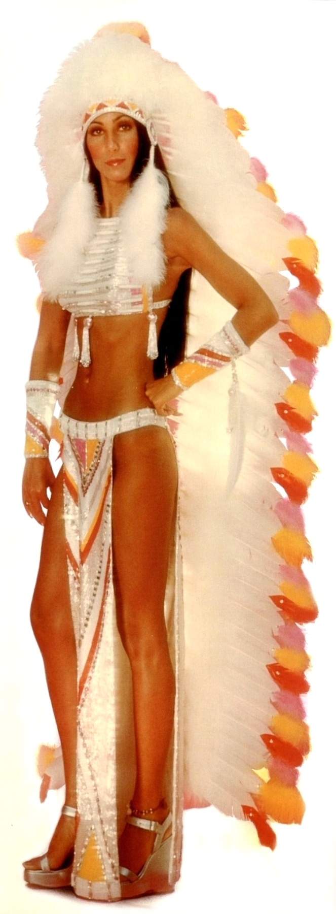 """Cher """"HalfBreed"""" outfit by Bob Mackie circa 1972"""
