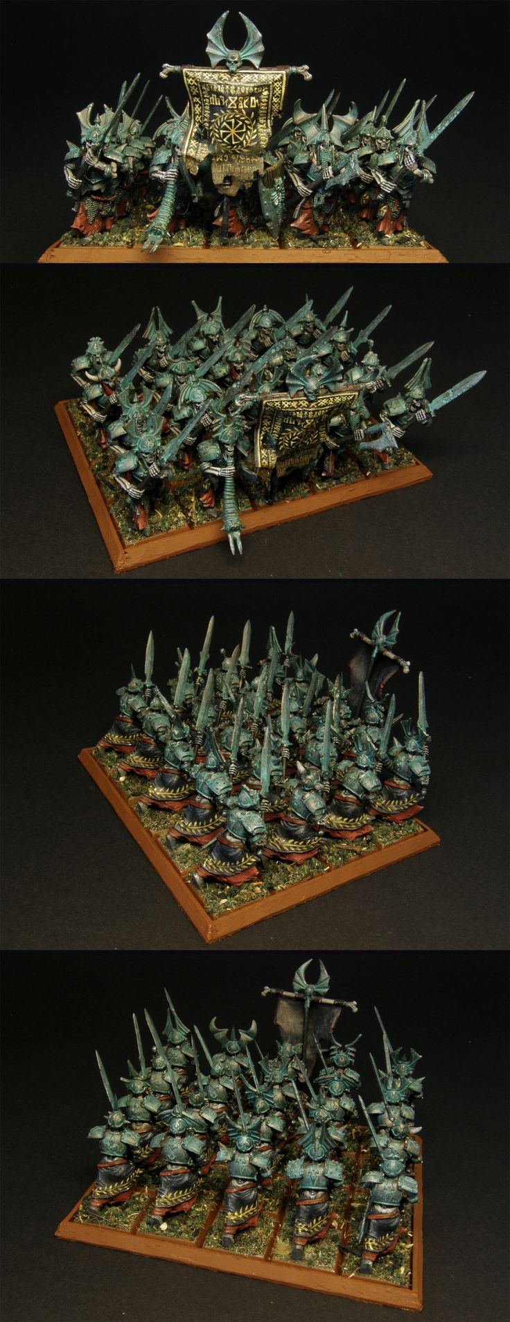 Grave Guard unit - painted for Vampire Counts, Warhammer Fantasy Battle - but can work for Age of Sigmar if need be. Right now they belong to the Deathrattle faction in Death Grand Alliance.