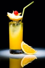 West Indian Yellow Bird. (Half pint - Shake & strain over rocks). 2 Wray and Nephew Overproof, 2 Briottet Banana, 2 Galliano, 3 Orange juice, 3 Pineapple juice, 2 Gosling's Black Seal (floated on top), Garnish - Lime sq