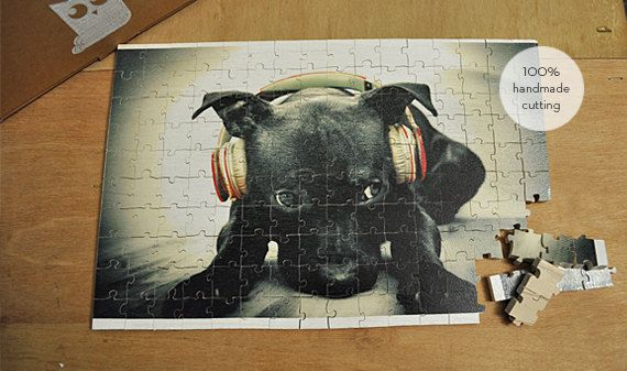 A cute snout that loves music, I will always hear you sing even if you're not Frank Sinatra... :) Puppy loves music!!! - Hand made wooden puzzle