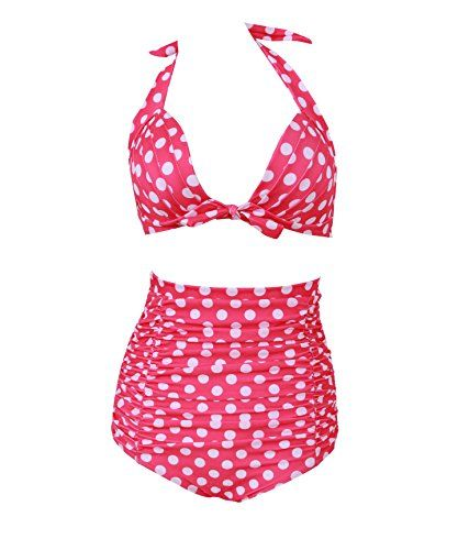 HaiCoo Retro Polka Dot Womans Bikini Padded Halter High Waist Swimsuit PD PK2, L(US 6 8), Pink. HaiCoo Own It's Trademark(USPTO Serial Number: 86935166)[Notice, Please Check The Size Chart In The Production Description]. M-3XL Plus Size Summer Beach High Waisted Halter Adjusted Women Sexy Swimwear. 2016 New Style Wire Free Blue Red Navy Blue Polka Dots Skull Printed Vintage Bikini Sets For Holiday. Fashion High Waist Polka Dot Printing Bathing Suits High Quality Polyester Spandex Swimsuit…