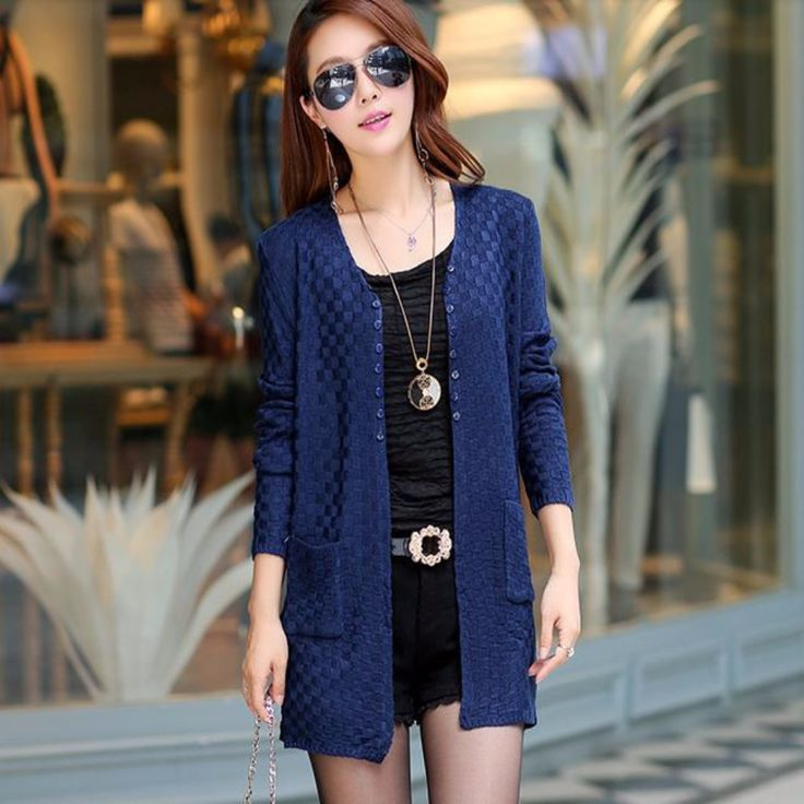 Front Top Buttons Thin Wool Cardigan