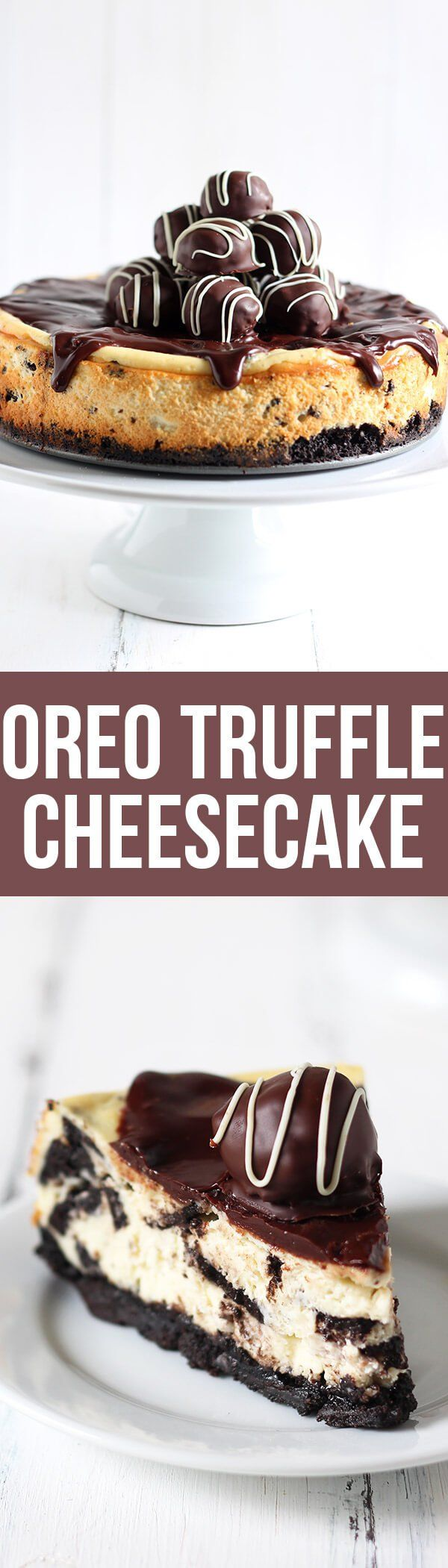 The dessert of my DREAMS! Oreo Truffle Cheesecake is a completely over-the-top sinful dessert with an Oreo crust, Oreo cheesecake filling, chocolate ganache, and Oreo truffles on top! Holy YUM.