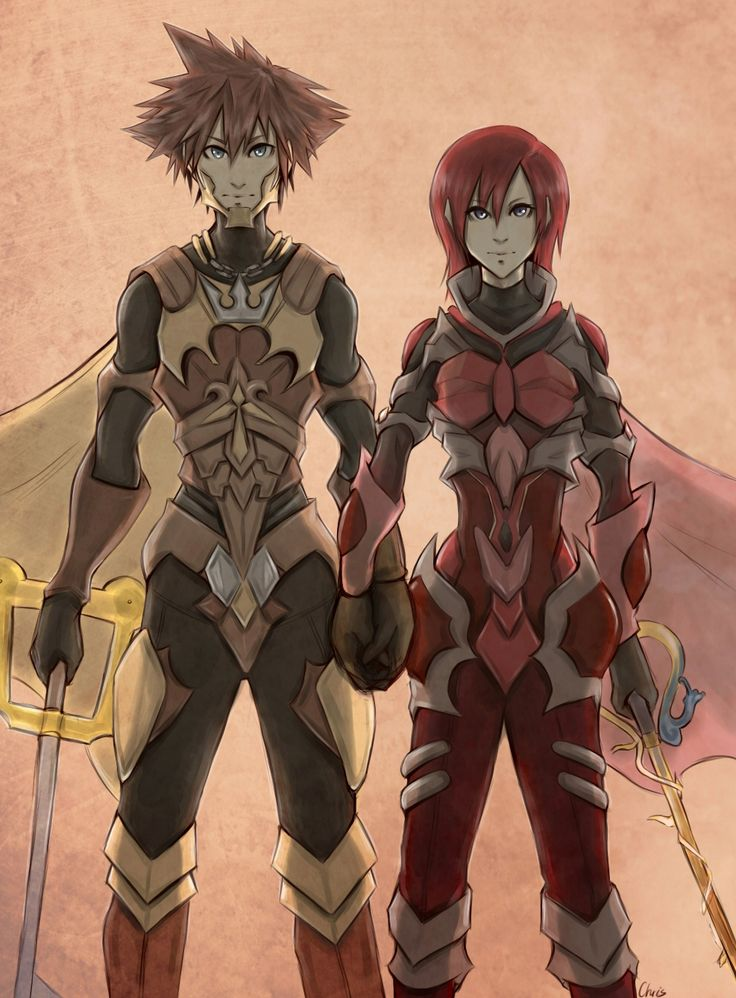 Sora & Kairi in Keyblade armor