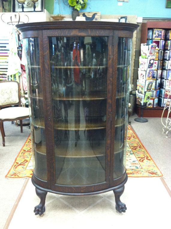 Gorgeous Antique Tiger Oak Bow Front China Cabinet by Chichesters, $995.00 - 220 Best ANTIQUE CHINA CABINETS!!!! Images On Pinterest DIY