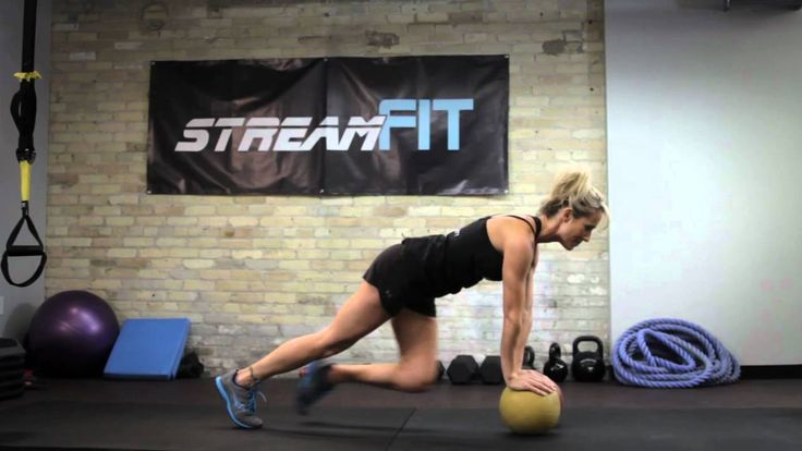 Tighten that Tummy with the Med Ball Mountain Climber Exercise  Do a combination of these 10 minutes a day  •Mountain climber on the floor- 30 seconds then rest for 30 seconds then repeat it •Side step squat- 1-2 minutes •Run forward and run backward