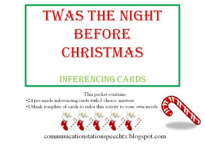 Free! Twas the Night Before Christmas Inferencing Cards! Thanks to Communication Station: Speech Therapy PLLC