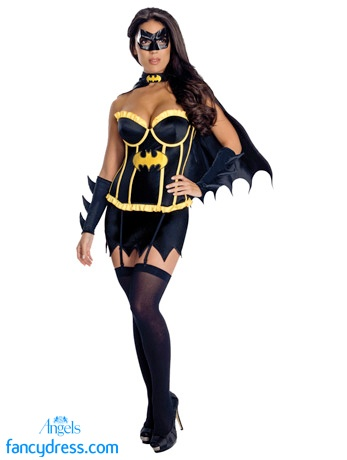 POW! BOOM! WOOSH! Holy jimminy crickets Batman, this Batgirl Corset outfit is seriously sexy! The costume is made up of a fully boned satin corset with removeable garters and clear bra straps. Also included in the pack is a mini skirt, cape, an eye mask and a pair of gauntlets. http://www.fancydress.com/costumes/Batgirl-Corset-Outfit/0~1276950~18