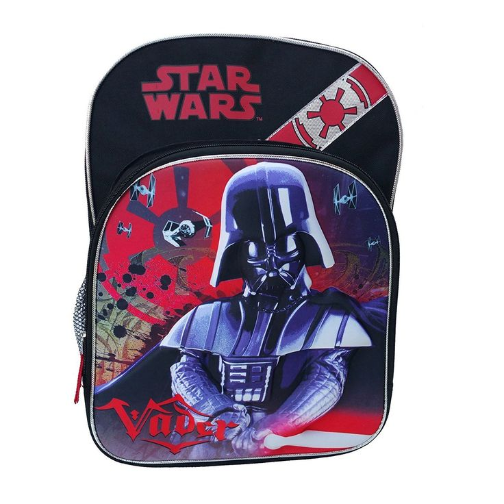 Kids Black Star Wars Backpack Darth Vader Empire Red Lightsaber Movie Character Comic Book 3 Dimensional School Bag Strap Back Space Galaxy Polyester