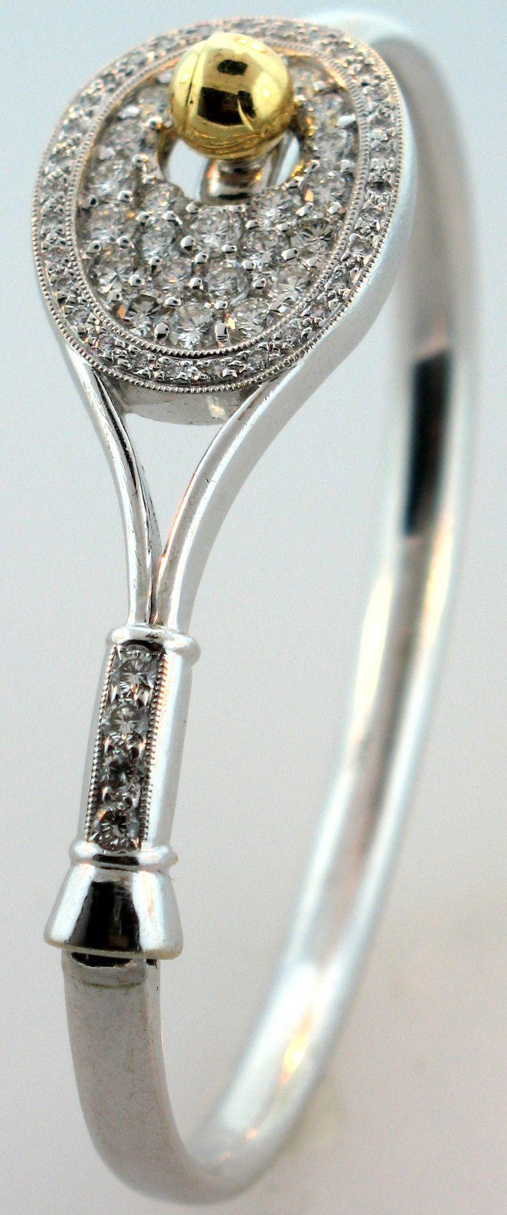 22B Diamond Tennis Racket bracelet #82   Tennis Boutique