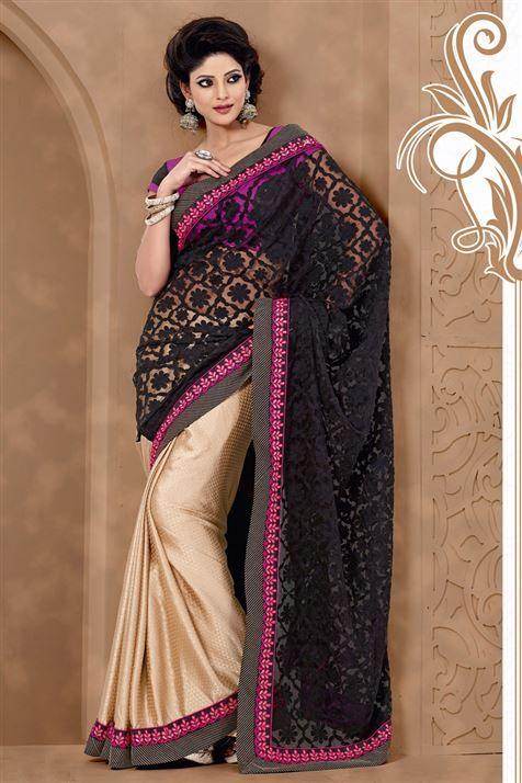 Stylish Black, Golden Jacquard, Net Saree