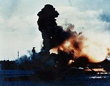 Explosion of the battleship USS Arizona at Pearl Harbor.