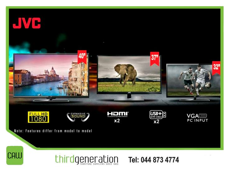 For a TV capable of meeting your everyday needs, consider a #JVC television. Visit us in-store or contact us on 044 873 4774 for our huge range available. #ThirdGenerationCAW