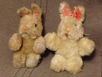 Shanghai Doll Factory Bunny Rabbit White Wool Plush 1950s 60s Pink Glass Eyes | Collectors Weekly