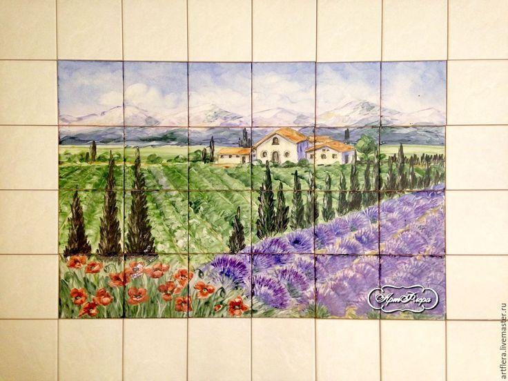 Купить Роспись плитки Фартук для кухни Тоскана Маки - Роспись плитки, роспись на плитке