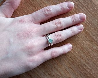 Custom Sized Aquamarine Ring set (3). Created by Allura Natura. Sold on Etsy.